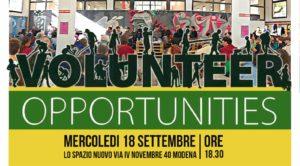 Modena – 18 Settembre Volunteer opportunities + Open day corsi a Lo Spazio Nuovo